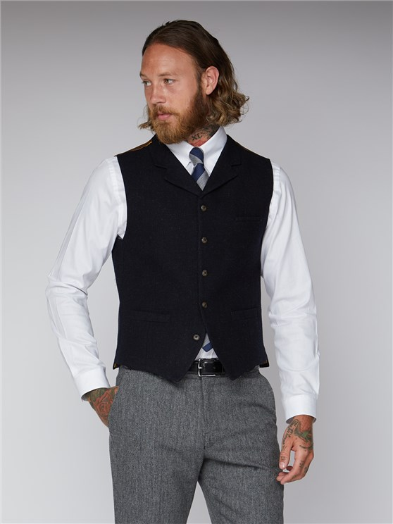 Navy Black Mini Check Waistcoat