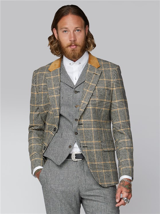 Allaire Black Gold & Ecru Checked Suit Jacket