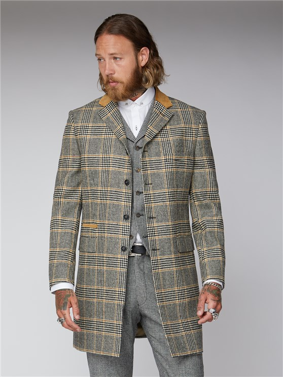 Allaire Black Gold & Ecru Checked Overcoat