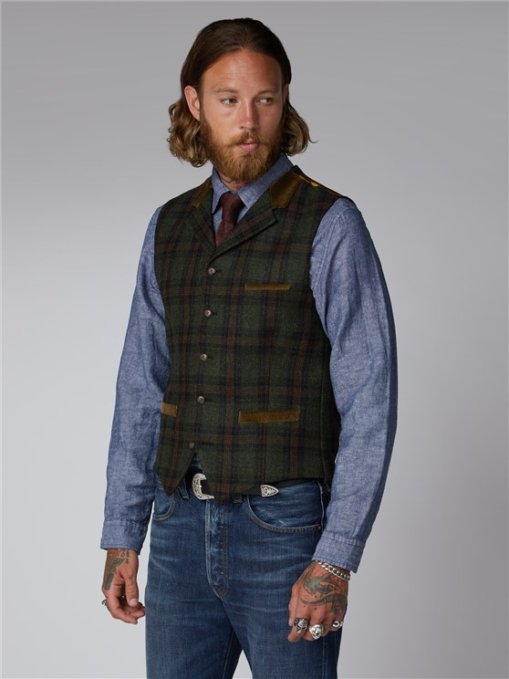Green and Tan Tartan Check Waistcoat