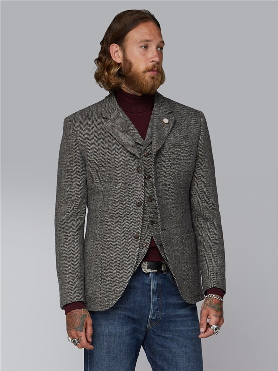Holden Charcoal and Ecru Herringbone Jacket