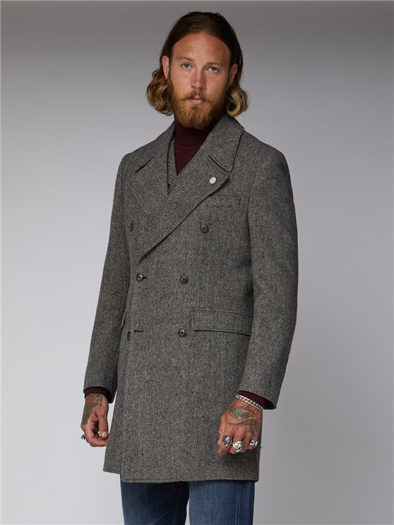 Vickers Charcoal and Ecru Herringbone Overcoat