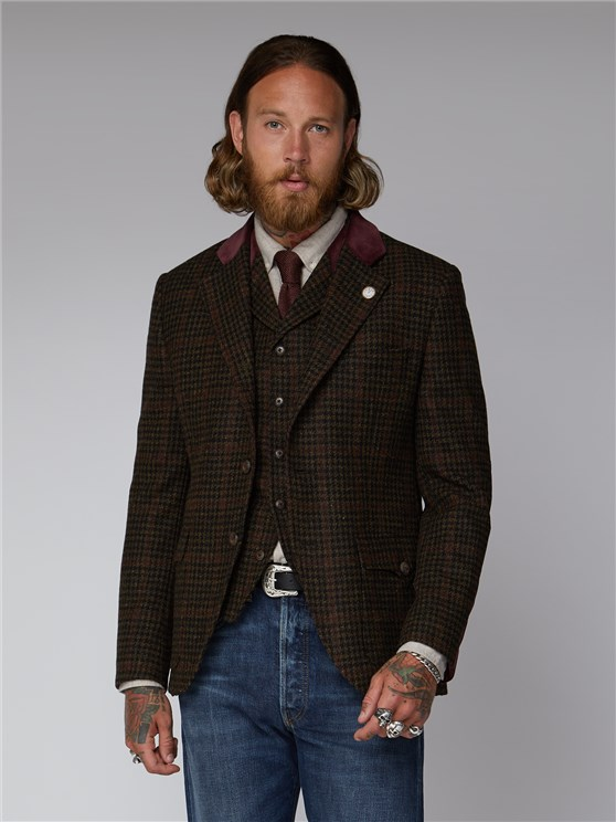 Deeley Brown Dogtooth & Red Checked Jacket
