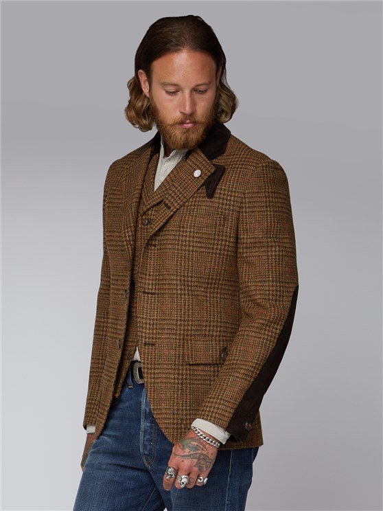 Hamilton Brown & Tan Checked Suit Jacket