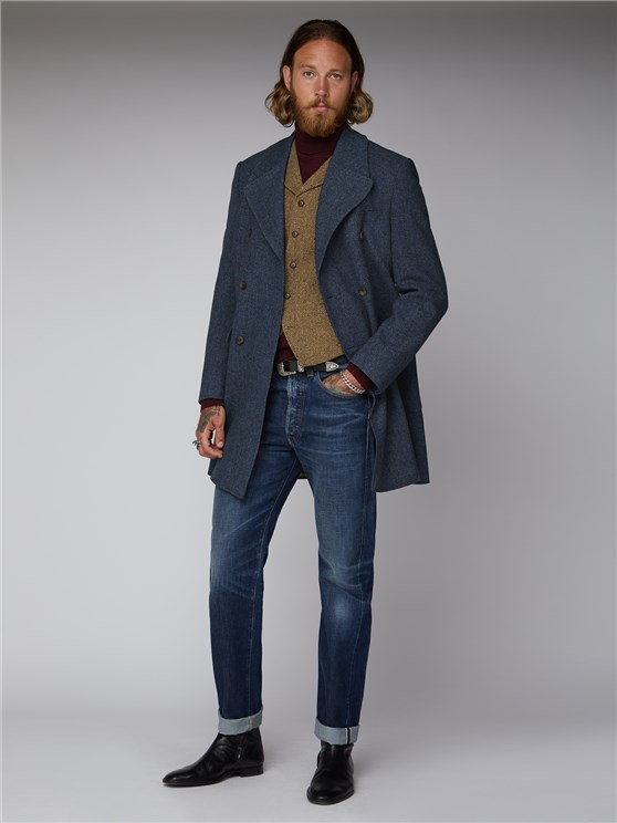 Jacomb Navy Herringbone Overcoat