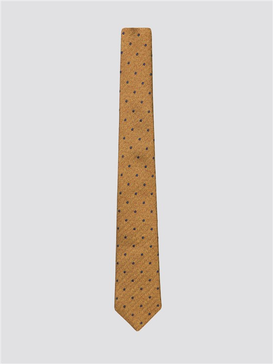 GOLD HERRINGBONE WITH NAVY SPOT TIE
