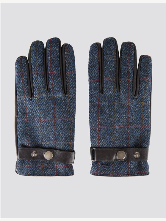 Blue Check Harris Tweed Gloves