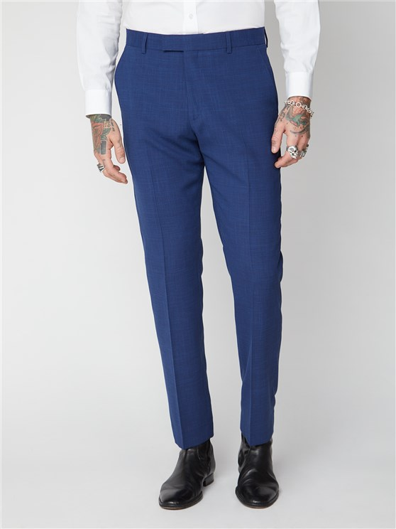 Blue Textured Trousers