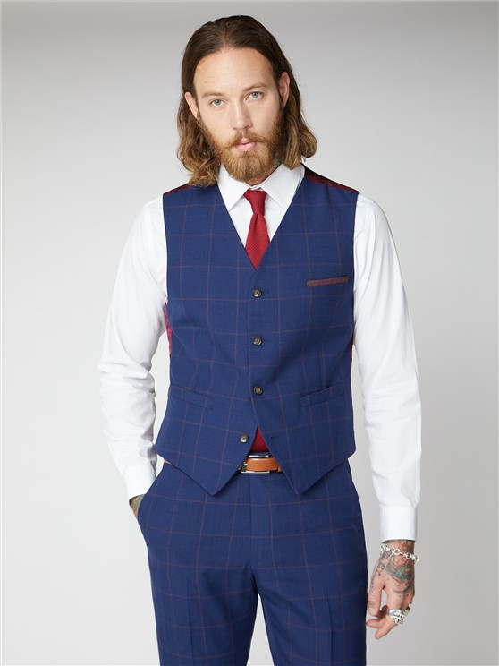 Regent Navy & Burgundy Windowpane Checked Waistcoat