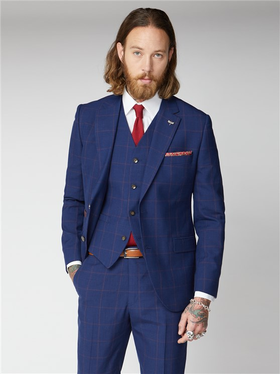 Regent Navy & Burgundy Windowpane Checked Suit