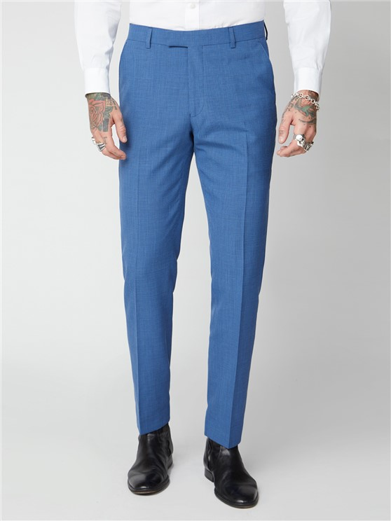 Finchley Blue Puppytooth Trousers