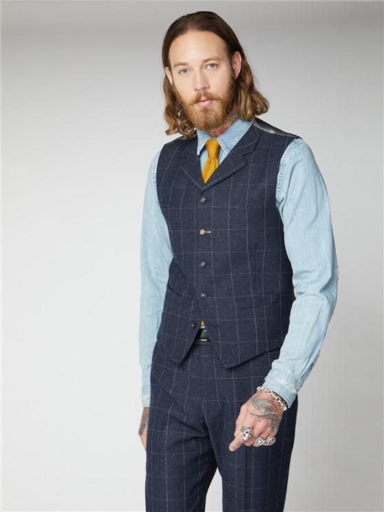 Navy and Grey windowpane check Waistcoat