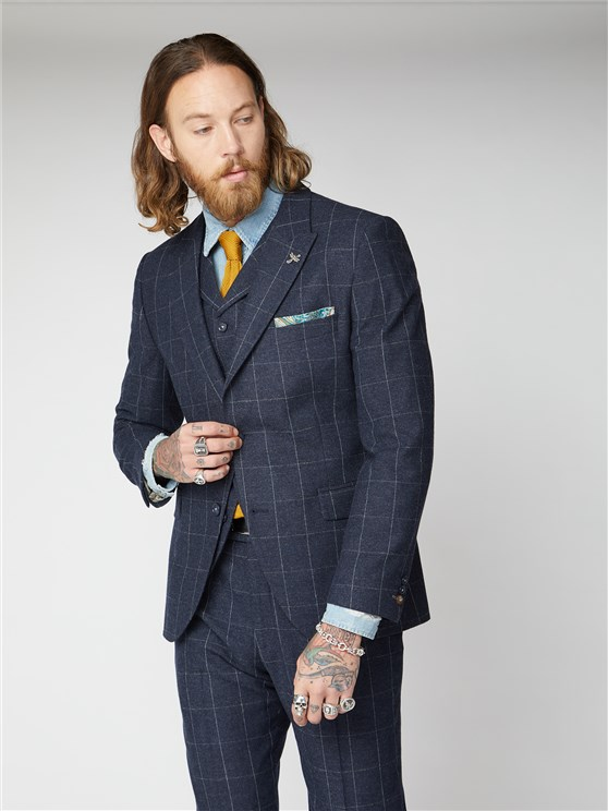 Clarence Navy and Grey Windowpane Check Jacket
