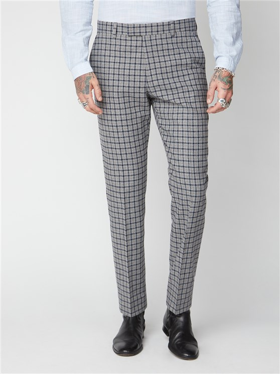 Cheyne Grey, Navy and Brown Check Trousers