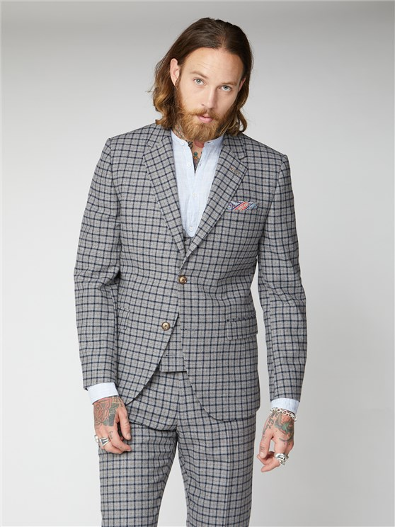 Cheyne Grey, Navy and Brown Check Jacket