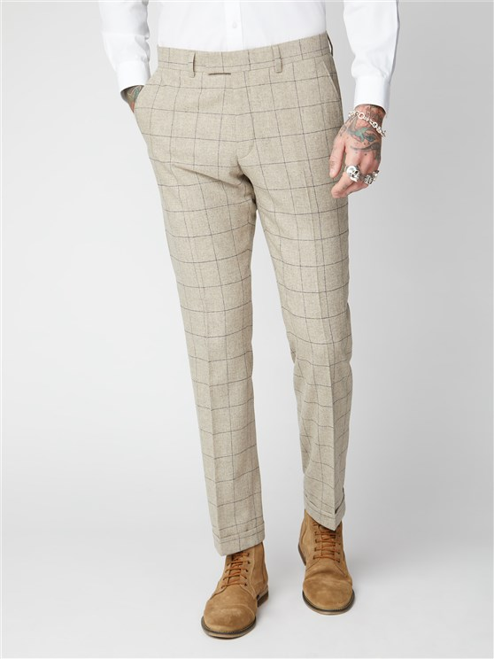 Wylam Stone Windowpane Checked Trousers