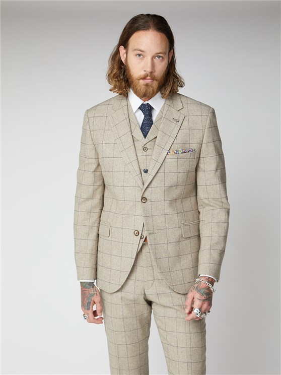 Wylam Stone Windowpane Check Suit