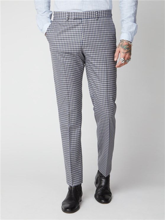 Dartford Blue & Navy Gingham Checked Trousers