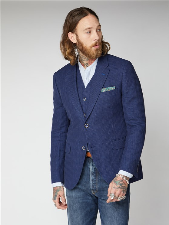 Hallfield Blue Textured Jacket