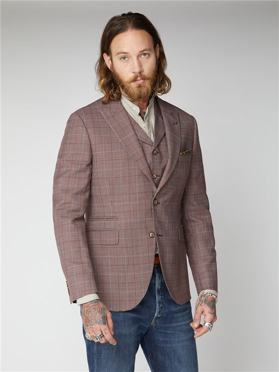 Metropolitan Burgundy & Grey Checked Suit Jacket
