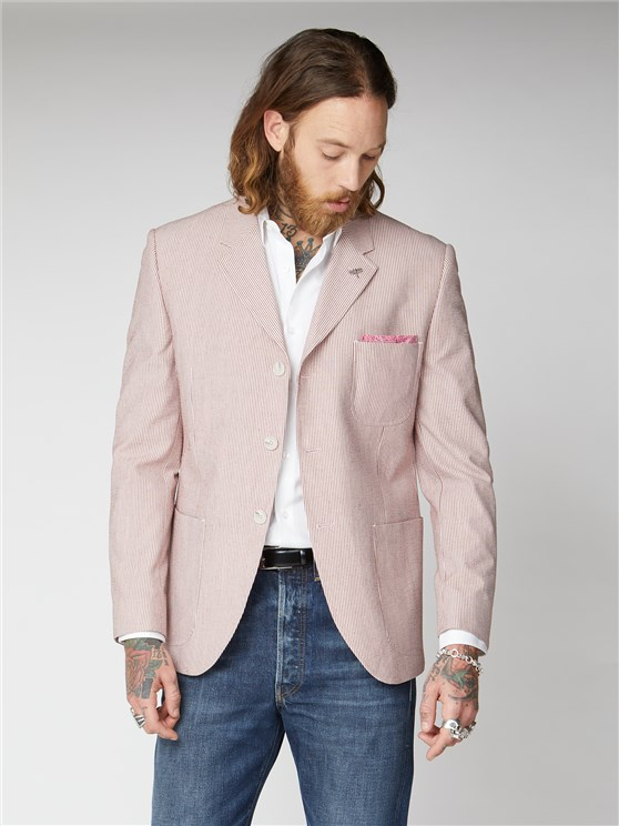 Kew Pink Seersucker Striped Blazer