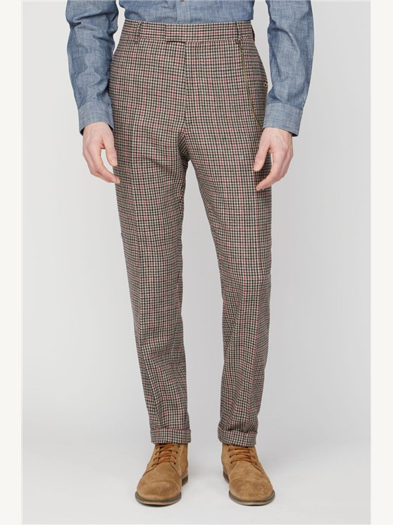 Fawn Black and Red Check Trousers