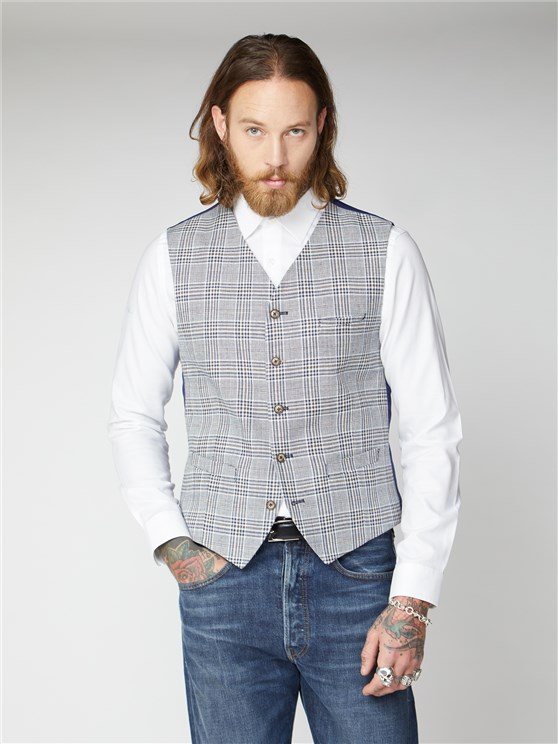Hackworth Navy, Cream and Fawn Checked Waistcoat