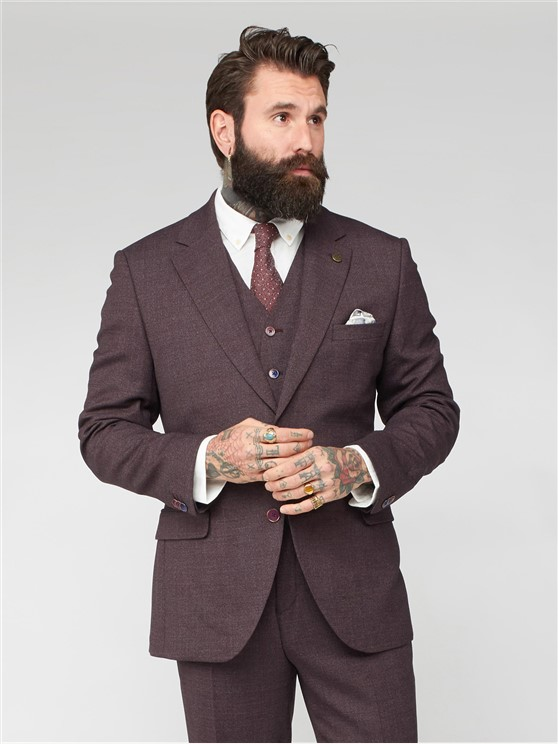 Sharpe Burgundy Plain Mouline Suit