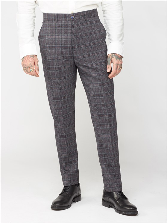 Isambard Navy Burgundy Grey Mouline Trouser