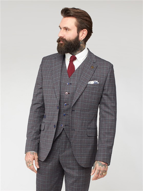 Isambard Navy and Burgundy Grey Mouline Suit