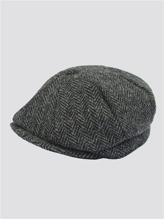 Grey Harris Tweed Baker Boy Hat