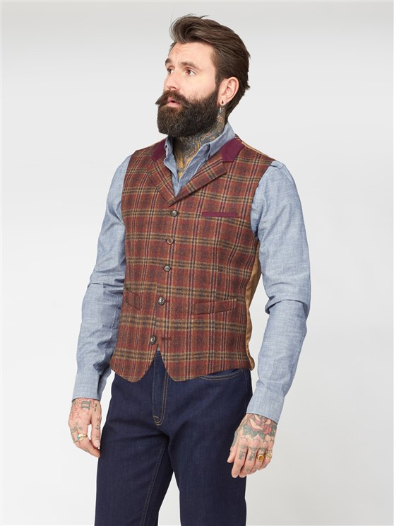 Barclay Orange Check Waistcoat