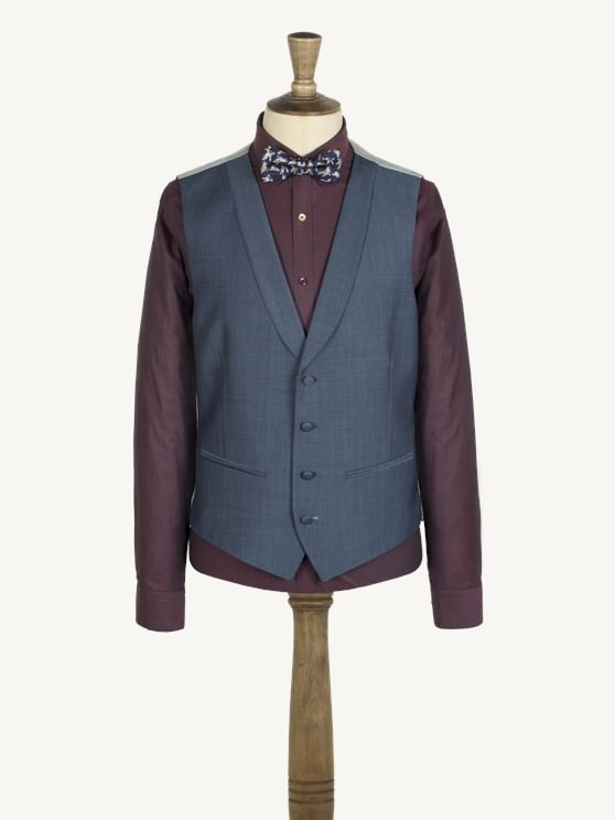Blue Plain Weave Waistcoat- currently unavailable