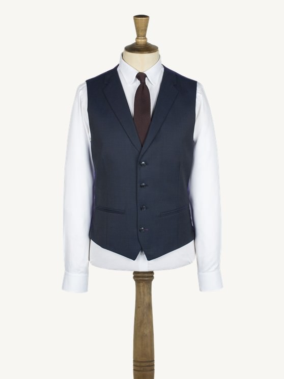 Navy twill notch lapel vest with back strap and buckle- currently unavailable