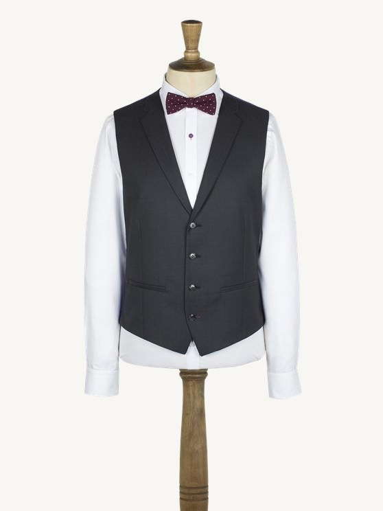 Charcoal Twill notch lapel vest with back strap and buckle- currently unavailable