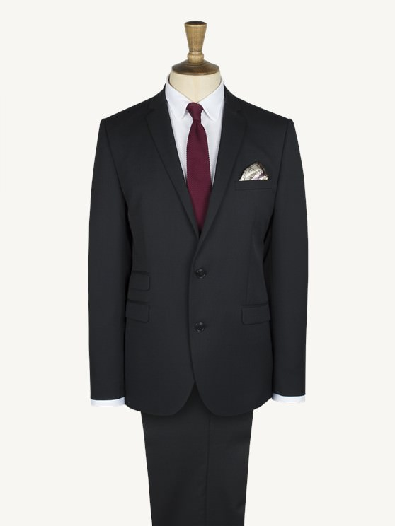 Wells Black Twill Slim Fit Suit