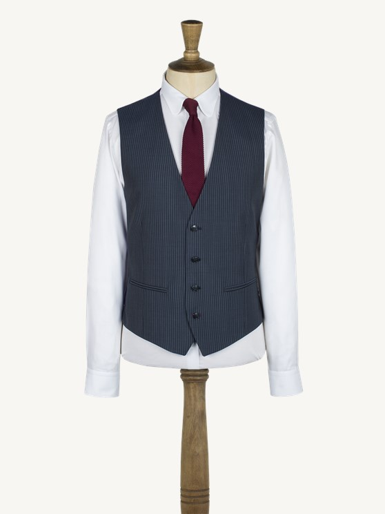 Charcoal, Blue Striped vest with back strap and buckle- currently unavailable