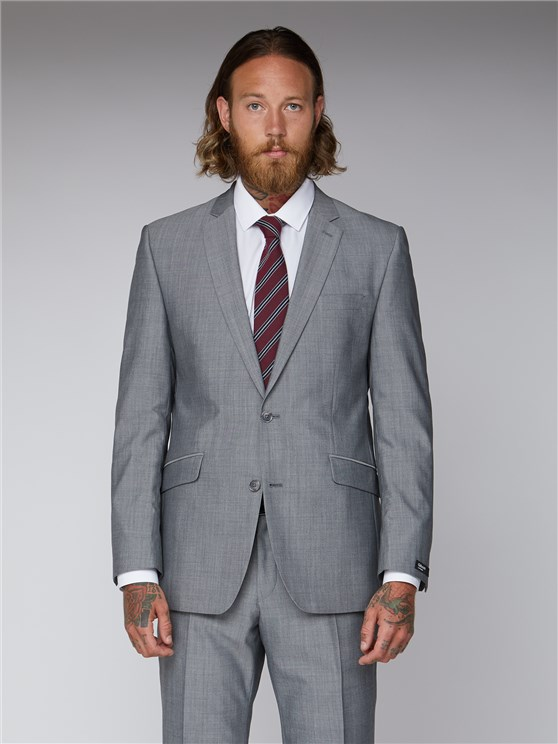 Silver Grey Tailored Suit Jacket