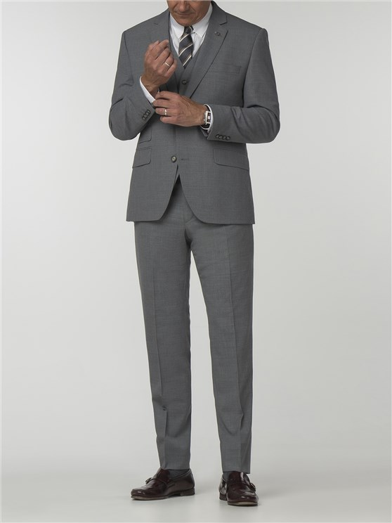 Essentials Grey Semi Plain Tailored Fit Trousers
