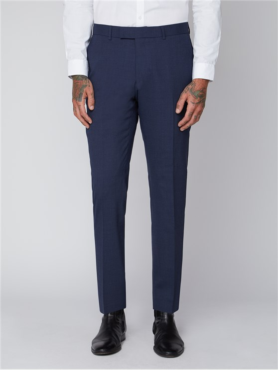 Essentials Blue Semi Plain Tailored Fit Trousers
