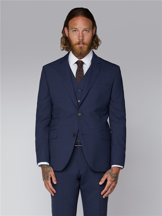 Essentials Blue Semi Plain Tailor Fit Suit