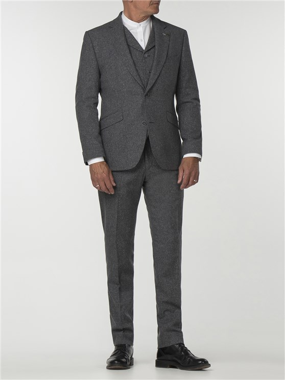 Essentials Grey Tweed Slim Fit Trousers