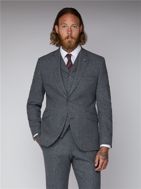 Essentials Grey Tweed Tailor Fit Suit Jacket