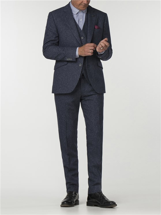 Essentials Blue Tweed Slim Fit Trousers