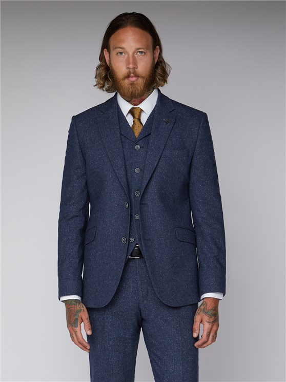 Essentials Blue Tweed Slim Fit Suit Jacket