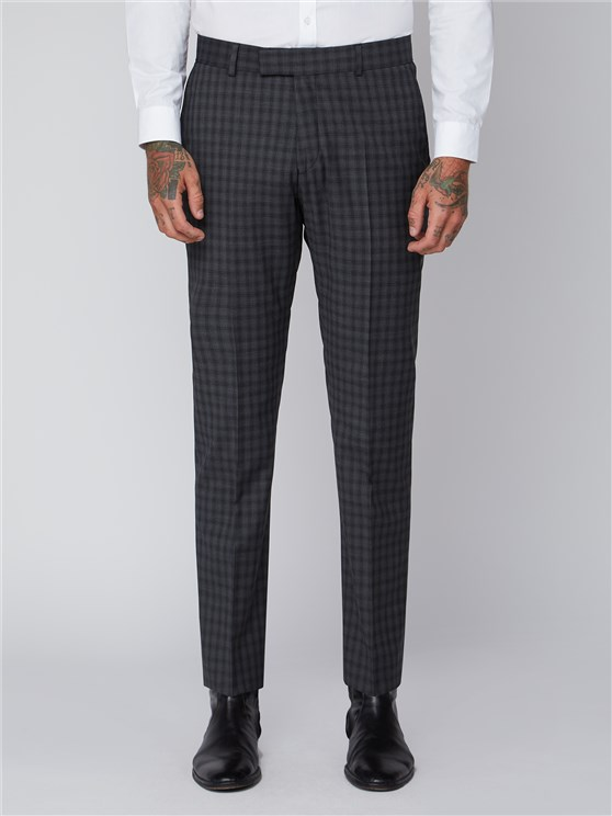 Gibson Essentials Grey Check Slim Fit Radisson Trousers
