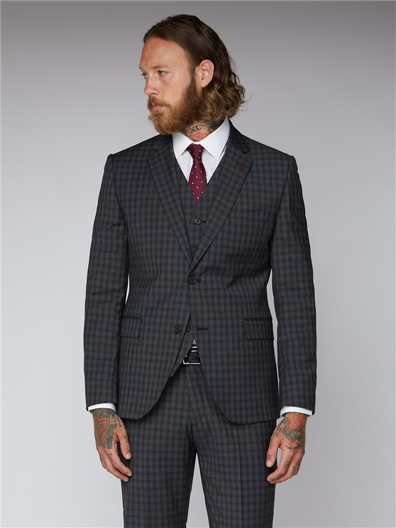 Essentials Grey Mini Check Tailored Fit Suit Jacket