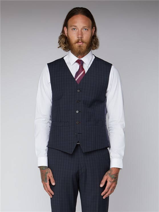 Essentials Blue Checked Tailored Fit Lambeth Waistcoat