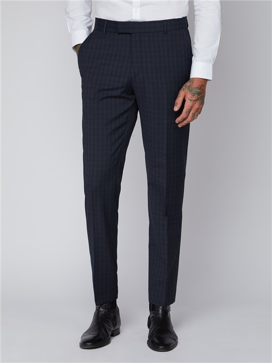Essentials Blue Checked Slim Fit Radisson Trousers