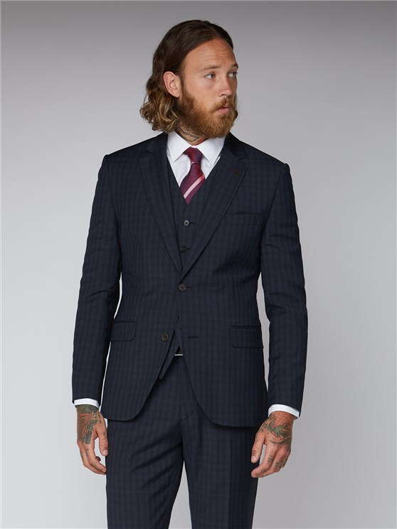 Essentials Blue Checked Slim Fit Suit